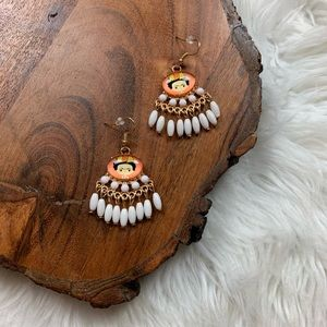 Frida Kahlo Portrait WhiteChandelier Earrings